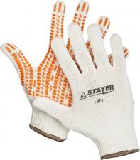 Перчатки трикотажные с защитой от скольжения х/б STAYER 11401-S