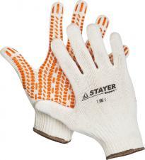 Перчатки трикотажные с защитой от скольжения х/б STAYER 11401-XL