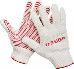 Перчатки трикотажные с защитой от скольжения ЗУБР МАСТЕР 11456-S